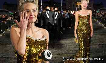 Sharon Stone is overcome with emotionwhen awarded the Golden Icon Award at the Zurich Film Festival