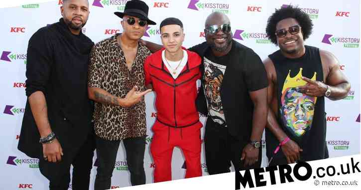 New recording artist Junior Andre and cheeky Love Island stars Faye Winter and Teddy Soares pose up a storm at Kisstory Festival