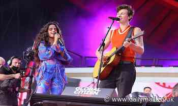 Camila Cabello kisses Shawn Mendes in Central Park as they perform Señorita for Global Citizen Live