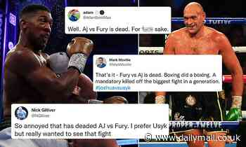 'AJ v Fury is DEAD': Boxing fans fume after Anthony Joshua's defeat by Oleksandr Usyk