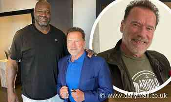 Arnold Schwarzenegger jokes about Shaq towering over him in photo... as sons share funny comments