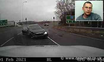 Police hit 146mph in high-speed chase with driver before he smashes into roundabout barrier