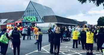 Shoppers and staff evacuated after fire breaks out Asda in Gosforth