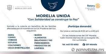 Invita DIF Morelia a colecta en apoyo a damnificados por incendio en Praderas del Sur - PCM Noticias