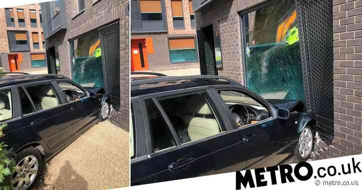 Embarrassing parents crash car into student halls while dropping child off at university