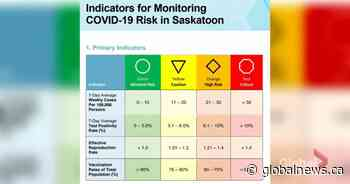 Colour-coded COVID-19 risk framework approved in Saskatoon