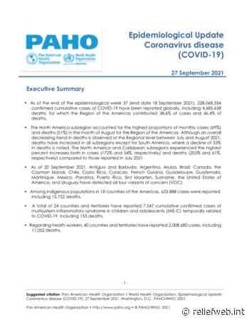 Epidemiological Update: Coronavirus disease (COVID-19) - 27 September 2021 - Argentina - ReliefWeb
