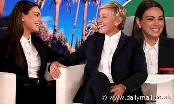 Mila Kunis twins with Ellen DeGeneres while co-hosting before addressing THAT bathing controversy