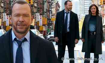 Donnie Wahlberg and Marisa Ramirez are pictured working on the New York City set of Blue Bloods