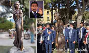 Sexism row in Italy after former PM Conte unveils 'offensive and humiliating' bronze statue of woman