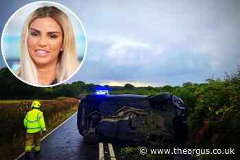 Flipped car pictured on road after Katie Price 'drink-drive' crash near Partridge Green
