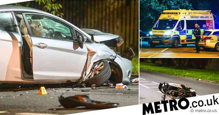 Boy, 16, killed and 'pregnant' woman injured after moped smashes into car