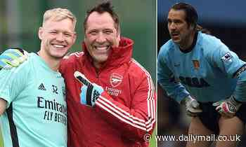 Arsenal legend David Seaman joins in training with new No 1 Aaron Ramsdale following derby win