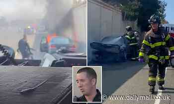 Video footage captures the moment a California cop saves an unconscious man from a burning car