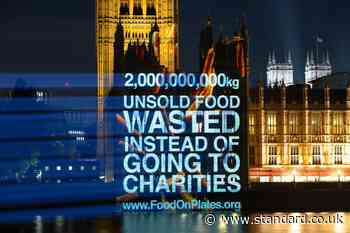 Carrots projected onto Houses of Parliament as charity FareShare calls for food waste funding - Evening Standard