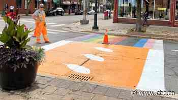Fredericton paints crosswalks orange in honour of Truth and Reconciliation Day - CBC.ca