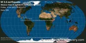 Informe sismo: Terremoto leve mag. 3.6 - Paracho, 19 km NNW of Uruapan, Michoacan, Mexico, 2021-06-04 04:45:19 (Hora de México) - 1 reporte de los usuarios - VolcanoDiscovery