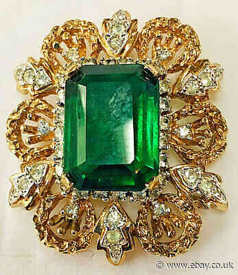 Vintage PANETTA Gold Tone Pin Brooch Faux Green Tourmaline  Stone w. Clear RSs