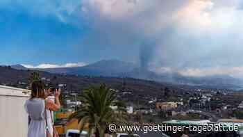 Drohne versorgt von Lava eingeschlossene Haustiere auf La Palma
