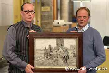 """Brit biedt op waardevol schilderij van eerste Britse oorlogstoeristen in Ieper... en schenkt het aan Iepers museum: """"Dit is heel bijzonder"""" - Het Nieuwsblad"""