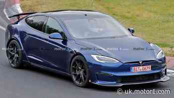 Tesla Model S Plaid prototype spied with articulating rear wing