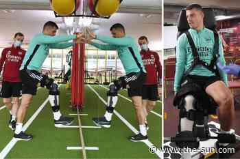 Arsenal ace Granit Xhaka steps up rehab from knee injury as he returns to training ground in bid to make... - The Sun