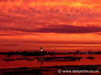 Fiery sunrise over Southampton this morning