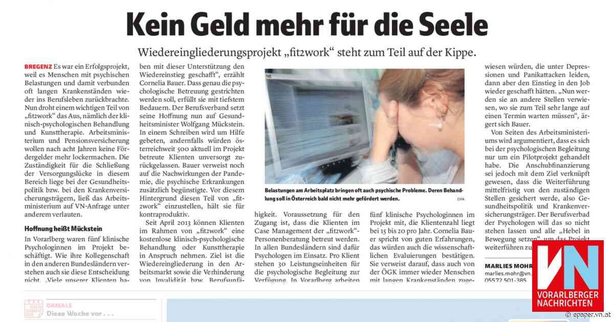 Kein Geld mehr für die Seele - Vorarlberger Nachrichten | VN.AT
