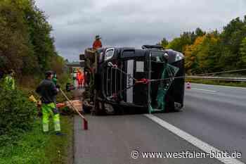 Lastwagen auf der A2 umgekippt