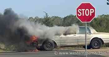 Broken-Down Car Erupts in Flames and Driver Has No Clue, But Good Samaritan Stops to Save Her