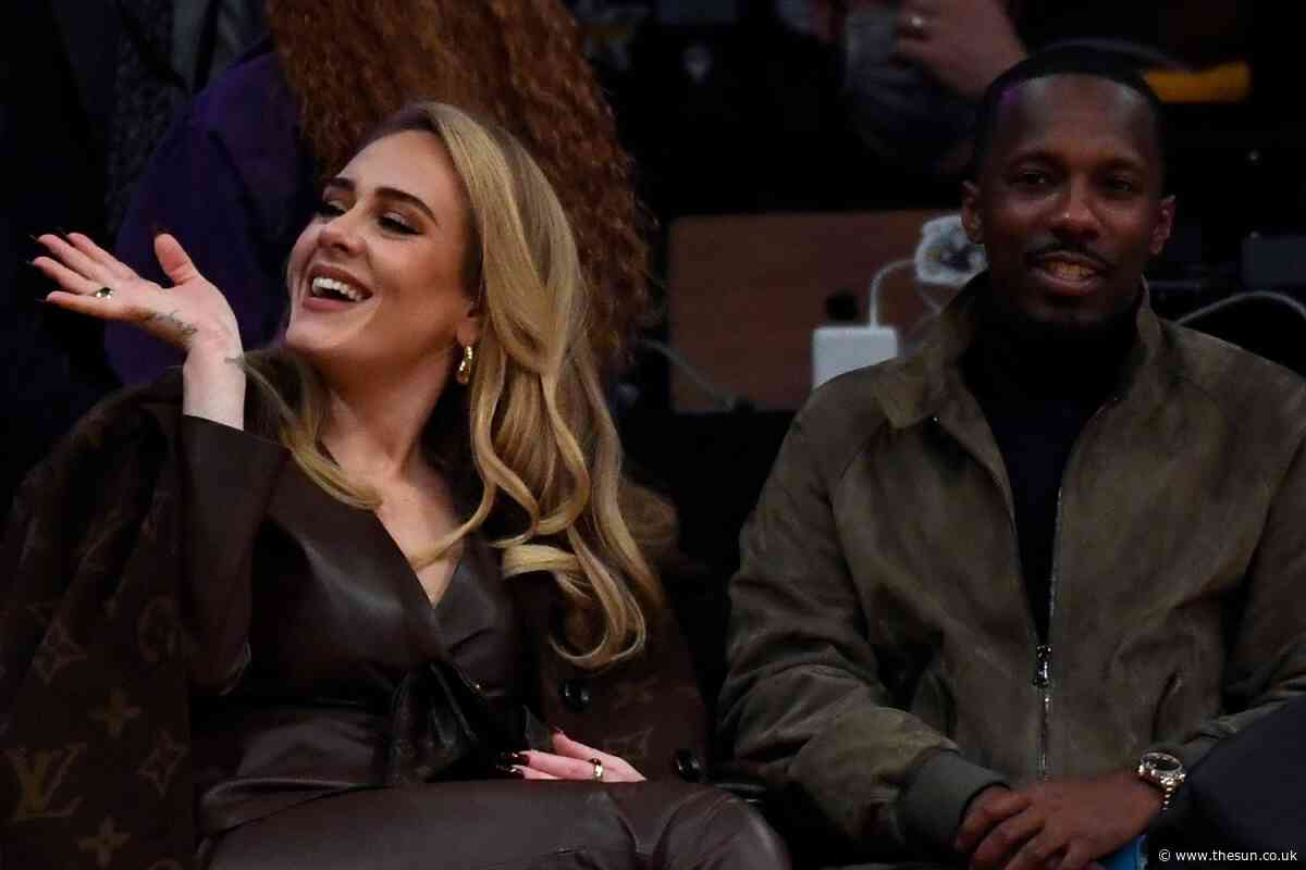 Adele stuns in leather jumpsuit as she sits courtside at Lakers game with boyfriend Rich Paul... - The Sun
