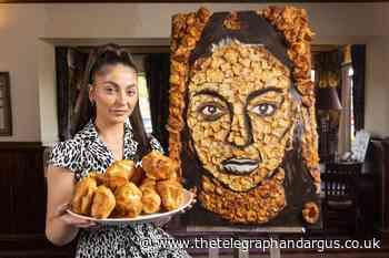 Pub landlady has huge Yorkshire puddings portrait of herself - Bradford Telegraph and Argus