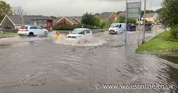 Abandoned cars, closed roads, and flooding in Wales after thunderstorms and heavy rain