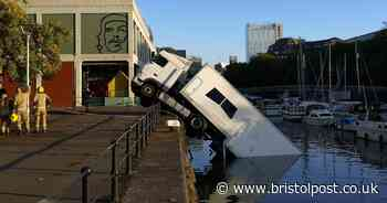 Bristol lorry crash: Photographs show HGV 'sinking' into floating harbour