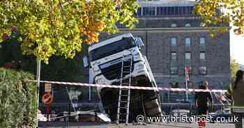 Lorry in Bristol harbour was there for new filming of Stephen Merchant's 'The Outlaws'