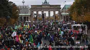 Hunderte Klimaschützer demonstrieren in Berlin