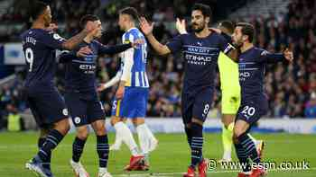 Foden scores brace as Man City beat Brighton