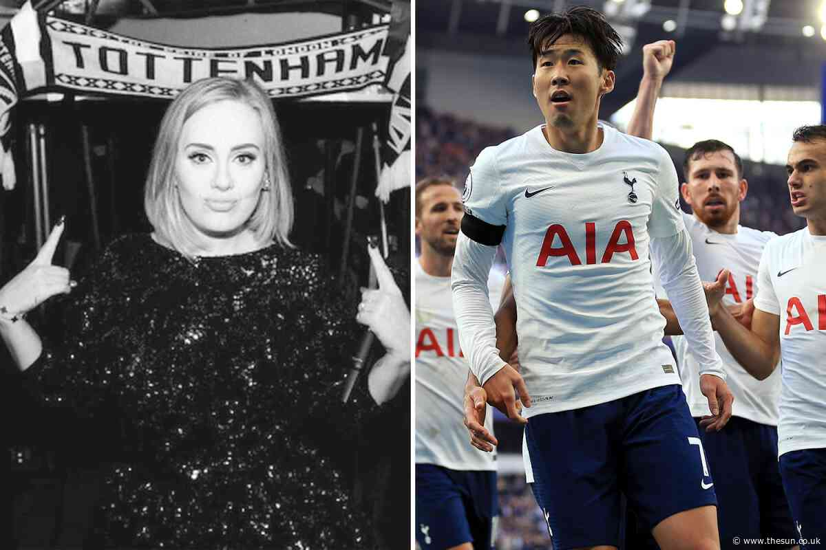 Watch Adele belt out cringey rendition of 'Glory Glory Tottenham Hotspur' chant ahead of West Ham clash... - The Sun