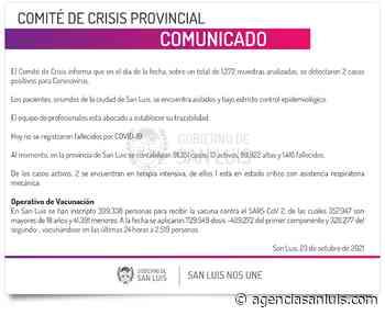 Son 2 los casos de Coronavirus registrados este sábado - Agencia de Noticias San Luis