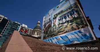 Fotos: así quedó el enorme mural de Manuel Belgrano a metros del Monumento - Rosario3.com